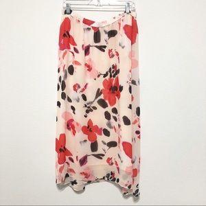 Chaus Floral Asymmetrical Midi Skirt Size L